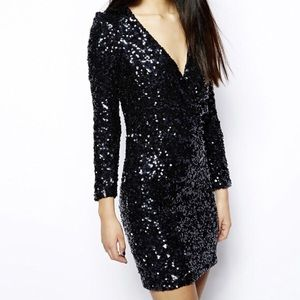 French Connection Dresses - french connection navy sequin long sleeve dress